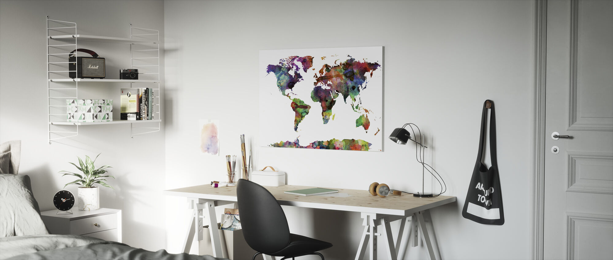 Watercolor World Map Multicolor - Canvas print - Kids Room