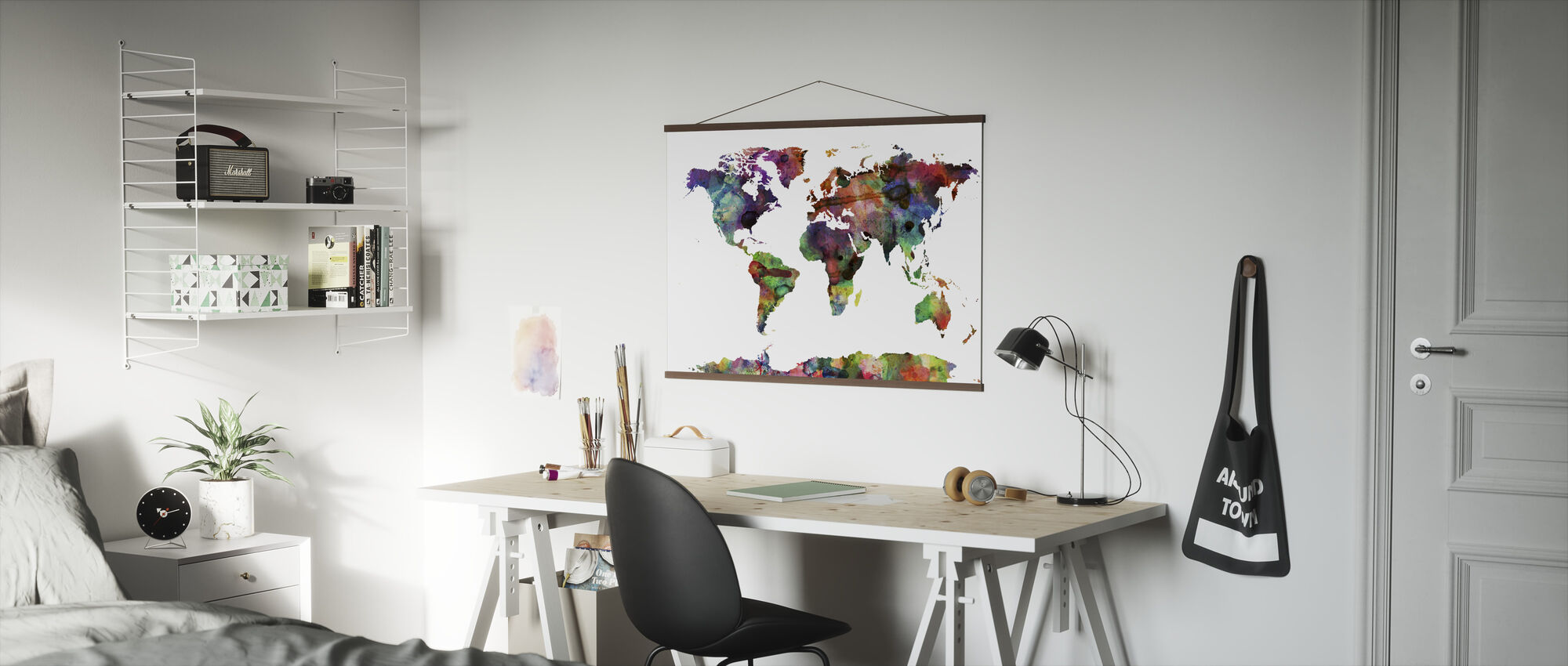Watercolor World Map Multicolor - Poster - Office