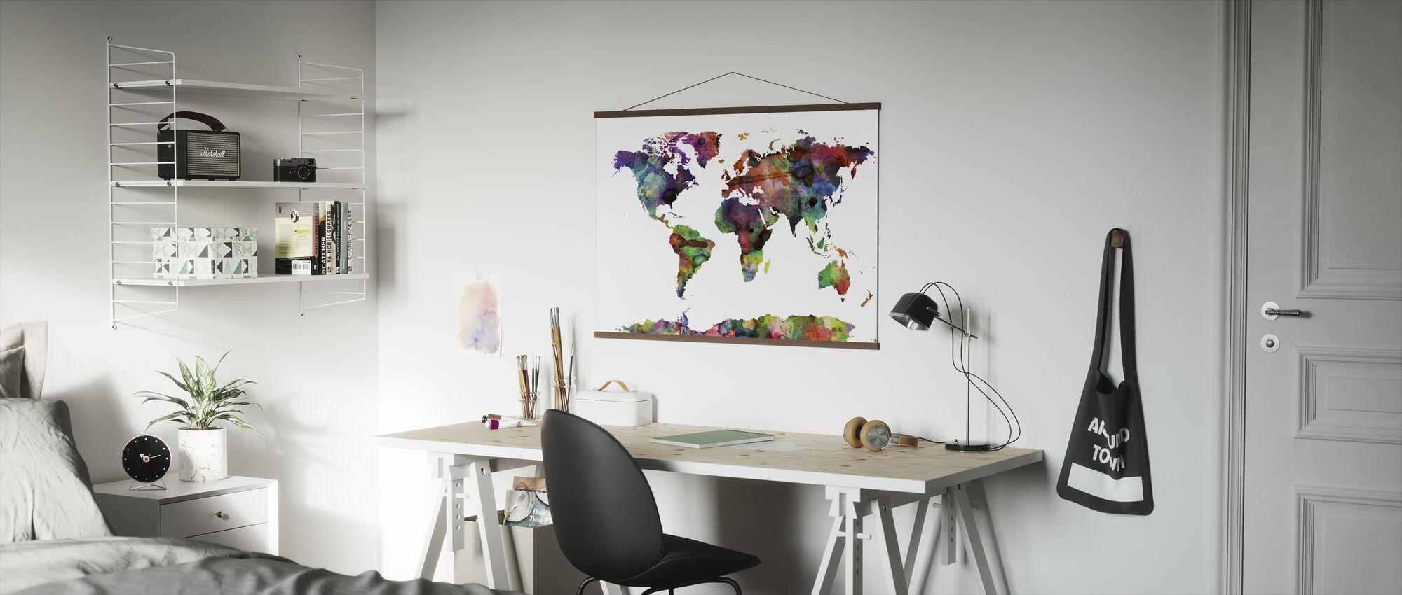Akvarell Verdenskart Multicolor - Plakat - Kontor