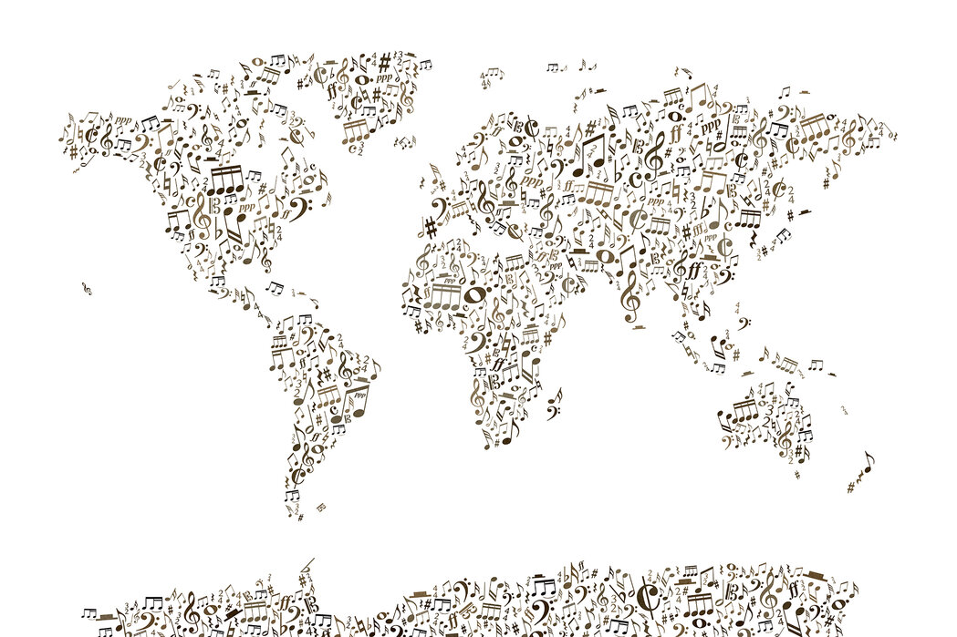 Music Notes World Map Affordable Wall Mural Photowall