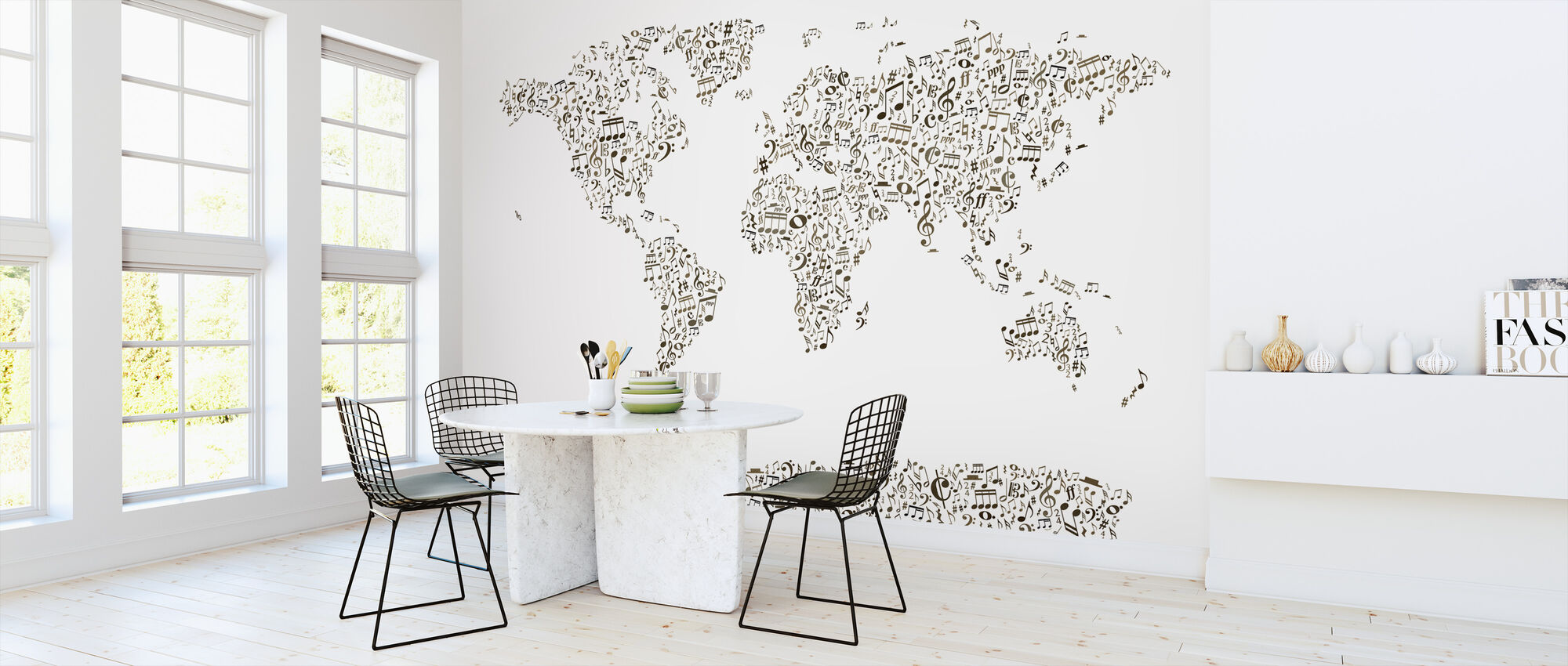 Music Notes World Map - Wallpaper - Kitchen