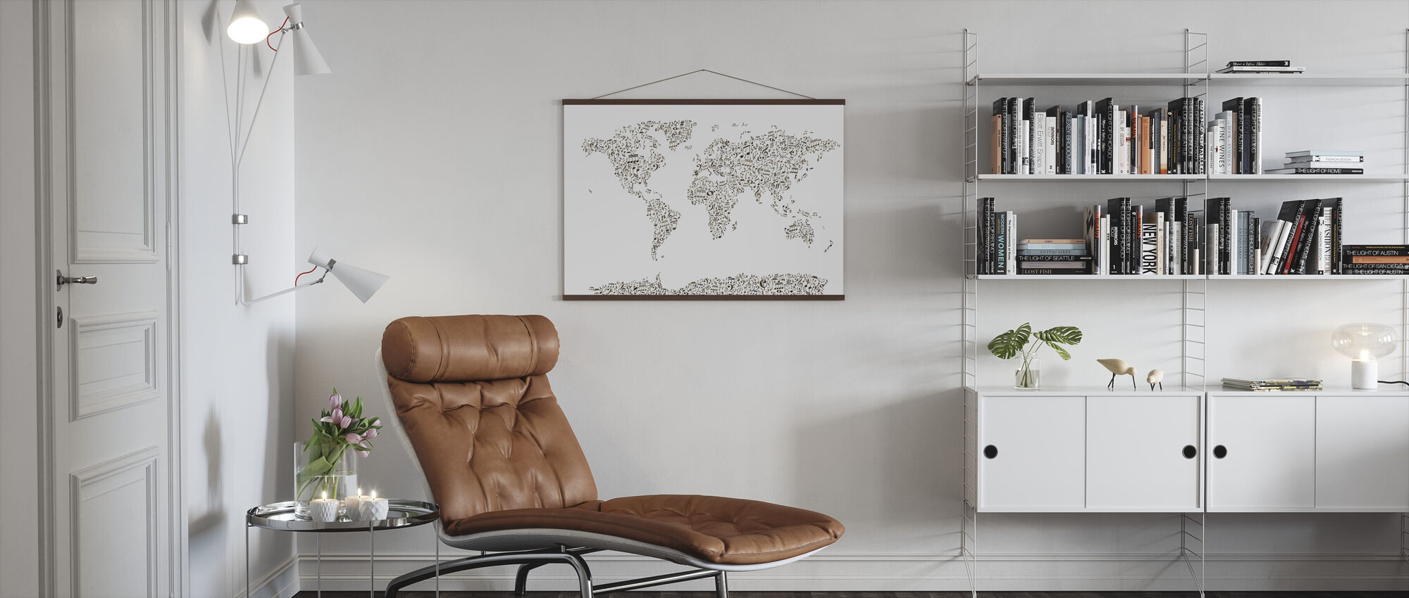 Music Notes World Map - Poster - Living Room