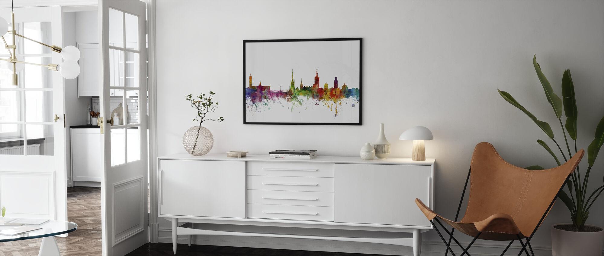 Stockholm Skyline - Inramad tavla - Vardagsrum