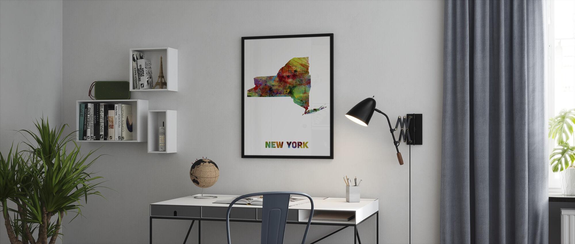 New Yorkin State Kartta - Kehystetty kuva - Toimisto
