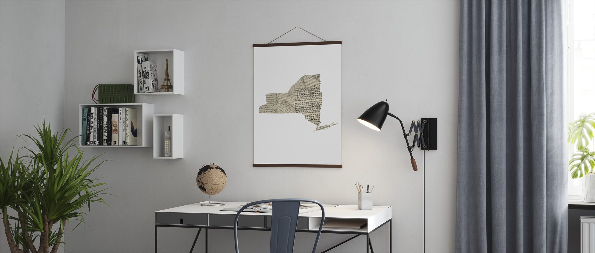 New York Old Music Sheet Map - Poster - Office