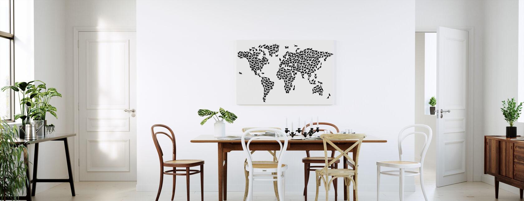 Chats Carte du Monde Noir - Impression sur toile - Cuisine