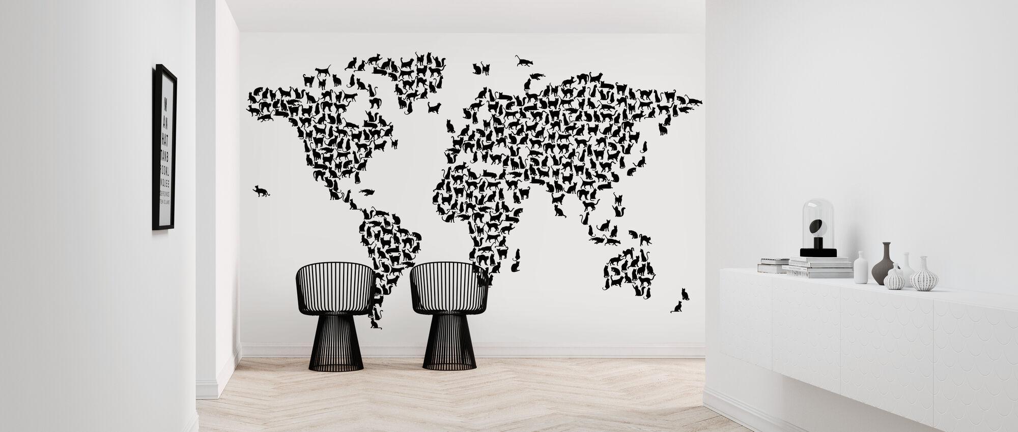 Kissat Maailmankartta Musta - Tapetti - Aula