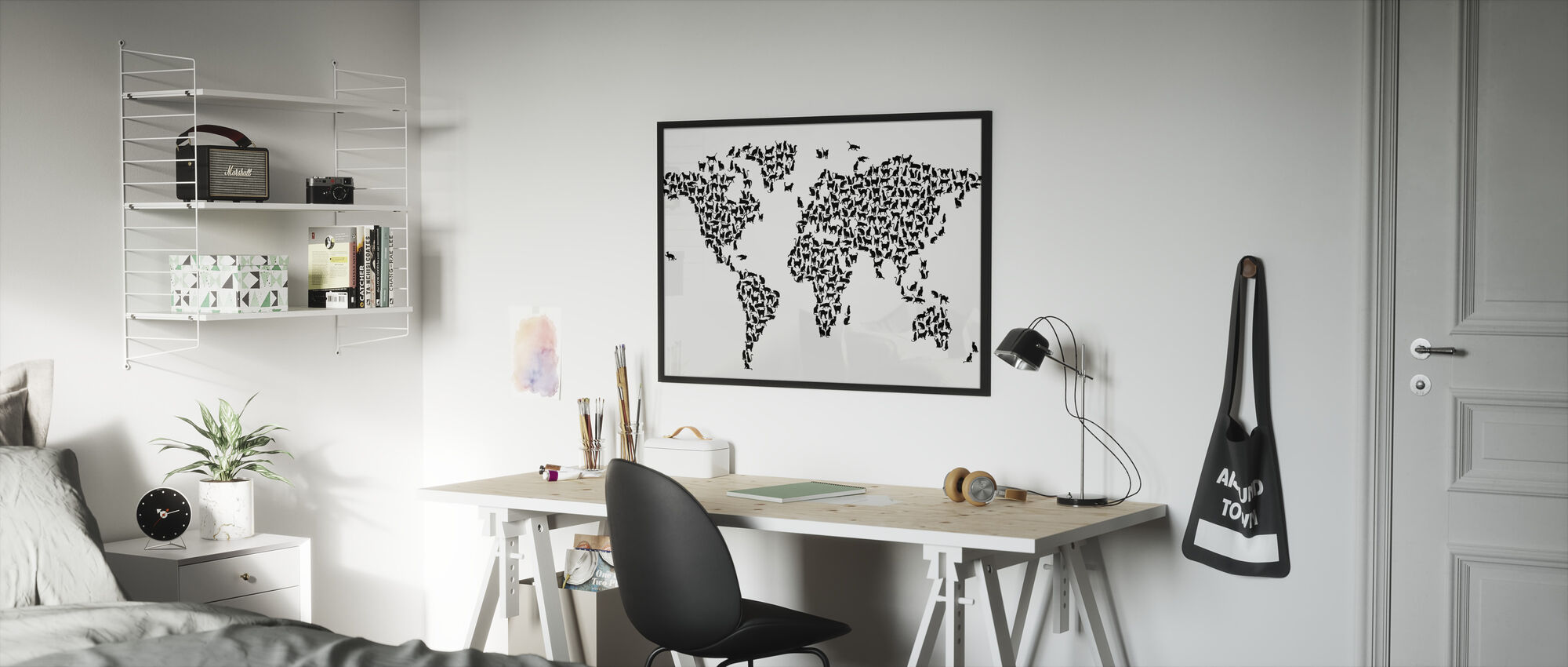 Cats World Map Black - Framed print - Kids Room