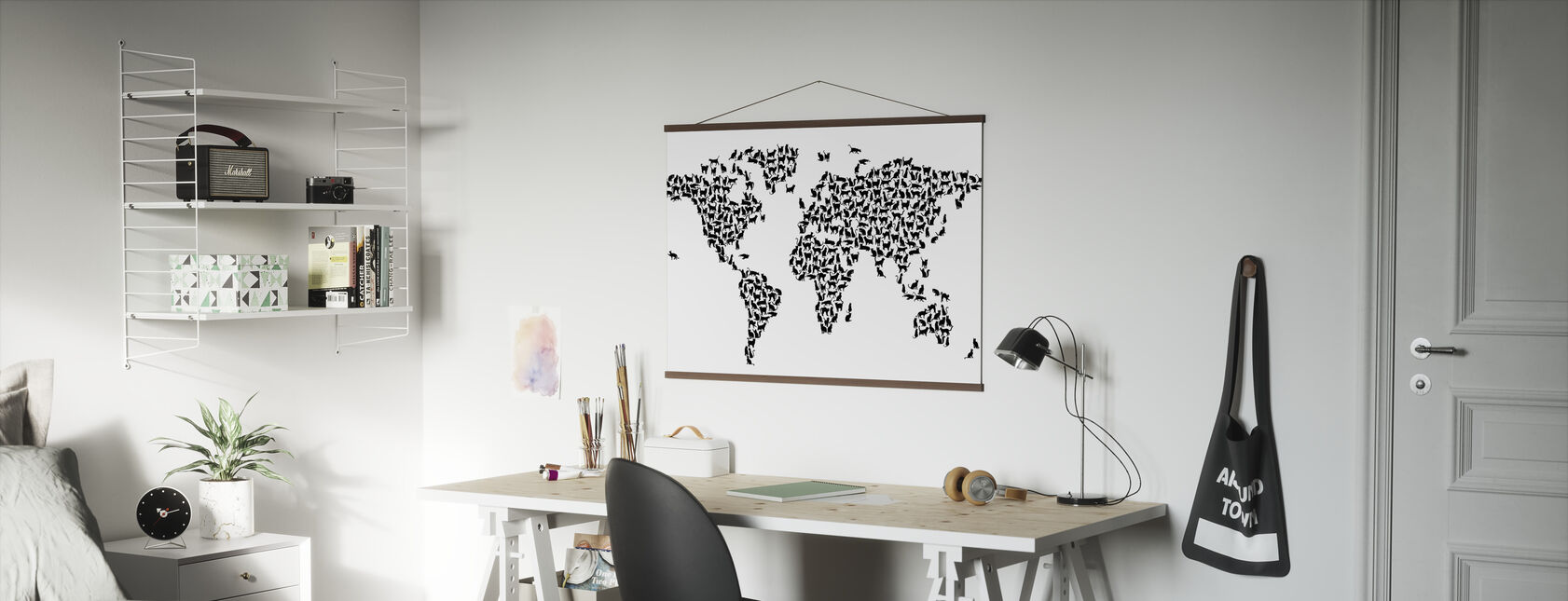 Katten Wereld Kaart Zwart - Poster - Kantoor