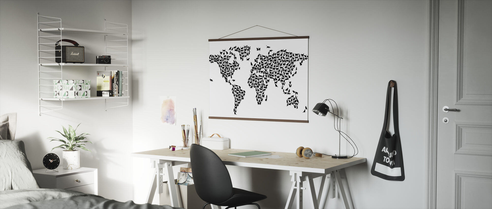 Cats World Map Black - Poster - Office