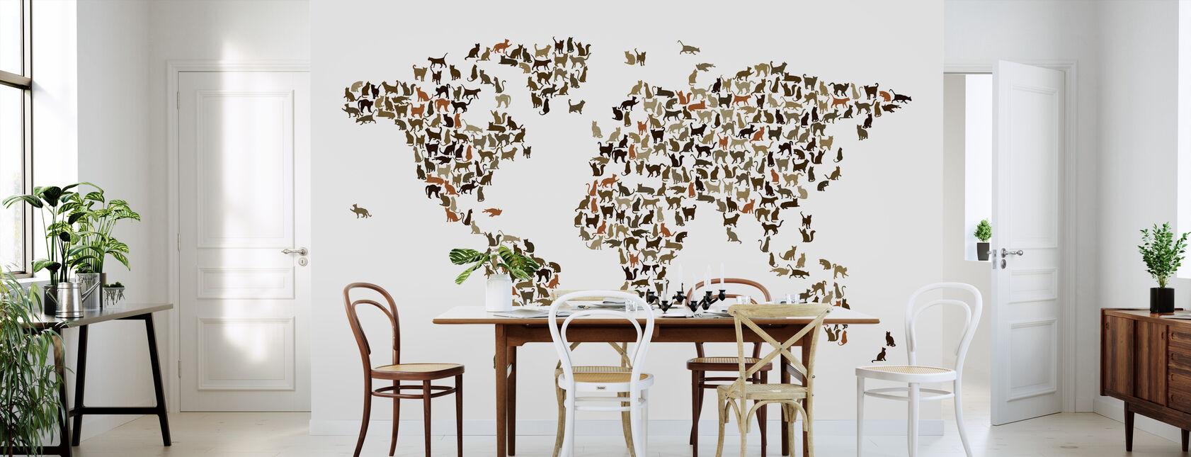 Cats Weltkarte - Tapete - Küchen