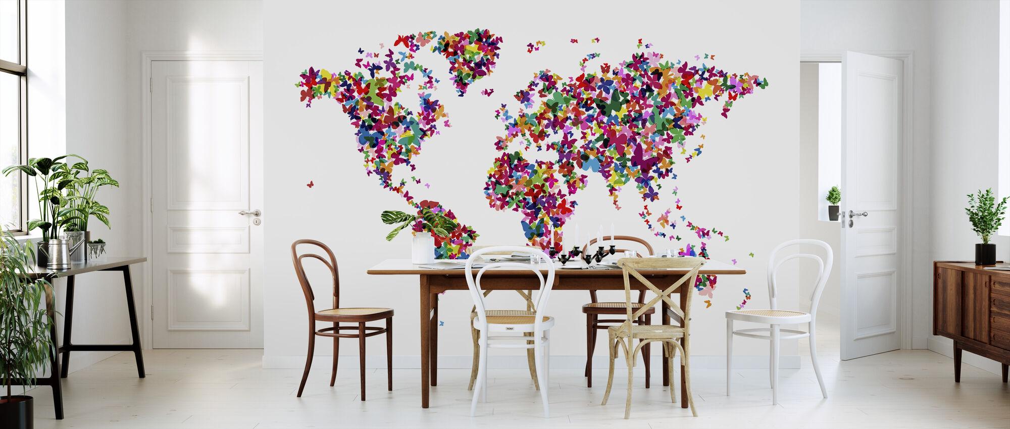 Butterflies World Map Multicolor - Wallpaper - Kitchen