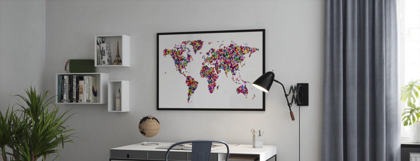 Butterflies World Map Multicolor - Framed print - Office