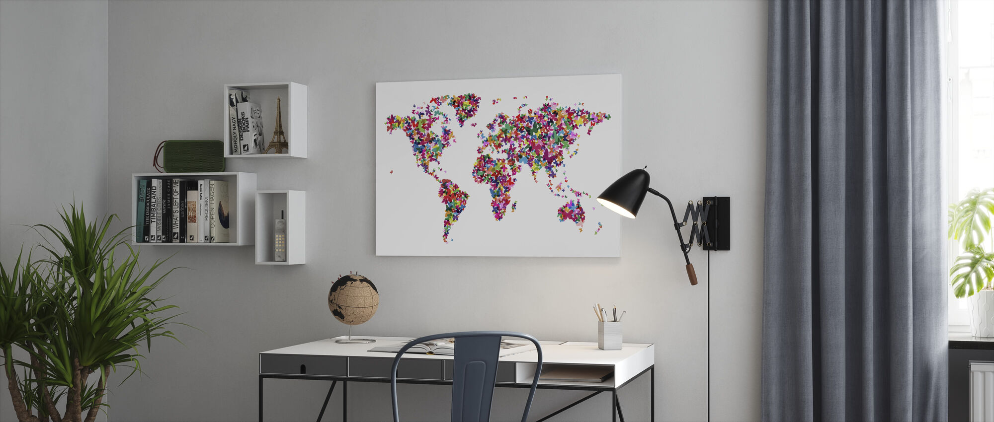 Fjärilar World Map Multicolor - Canvastavla - Kontor