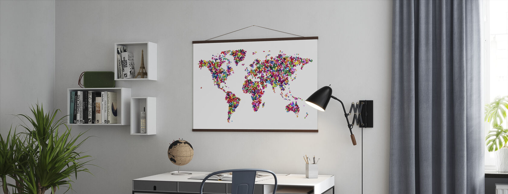 Butterflies World Map Multicolor - Poster - Office