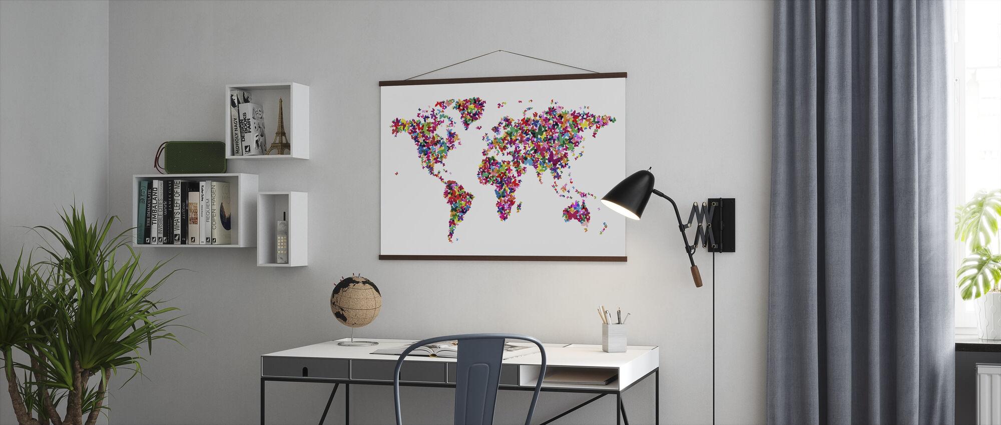 Vlinders Wereld Kaart Multicolor - Poster - Kantoor
