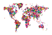 Fototapet - Butterflies World Map Multicolor