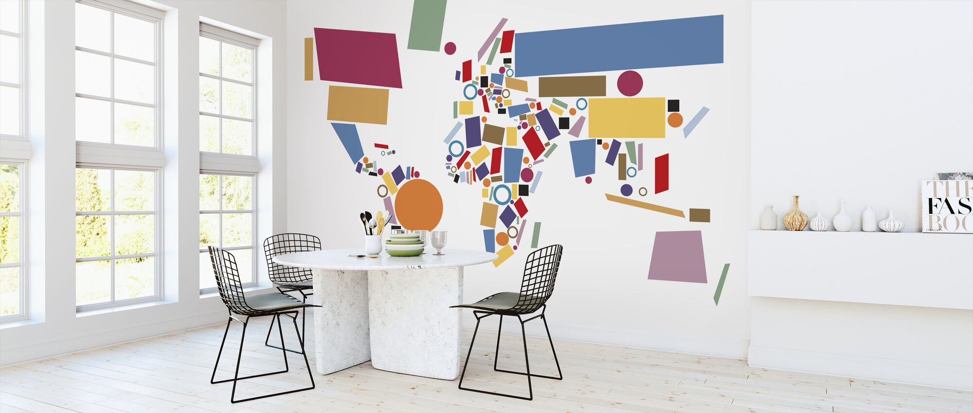 Abstract World Map Squares - Wallpaper - Kitchen