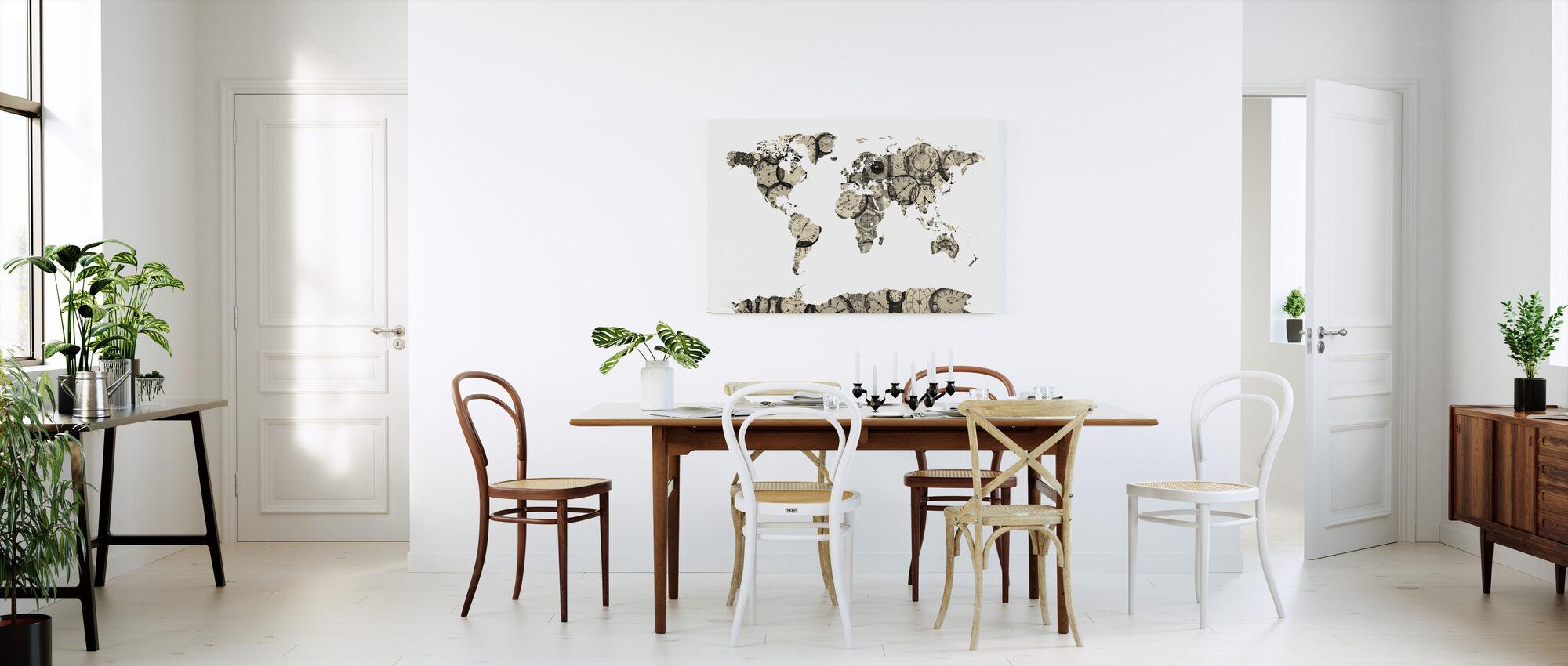 Old Clocks Carte du monde - Impression sur toile - Cuisine