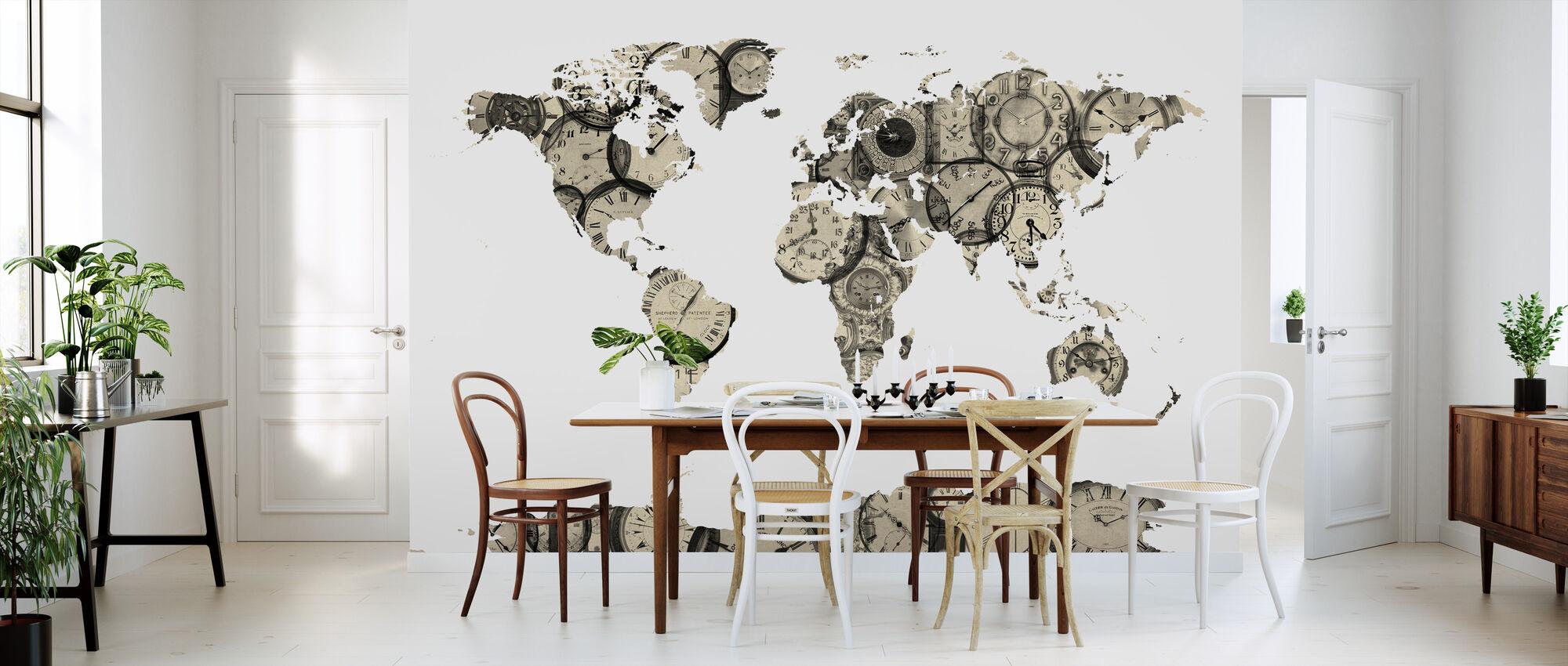 Old Clocks World Map - Wallpaper - Kitchen
