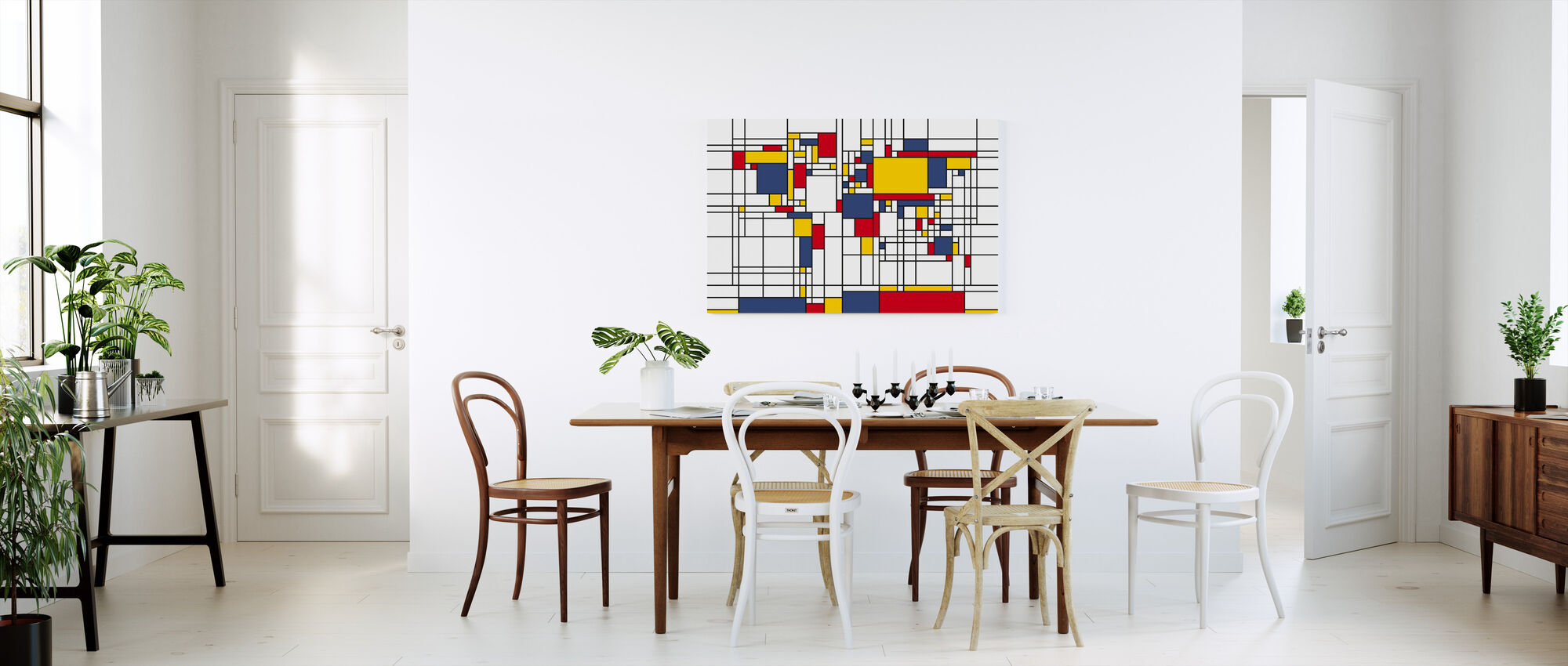 Piet Mondrian Style World Map - Canvas print - Kitchen
