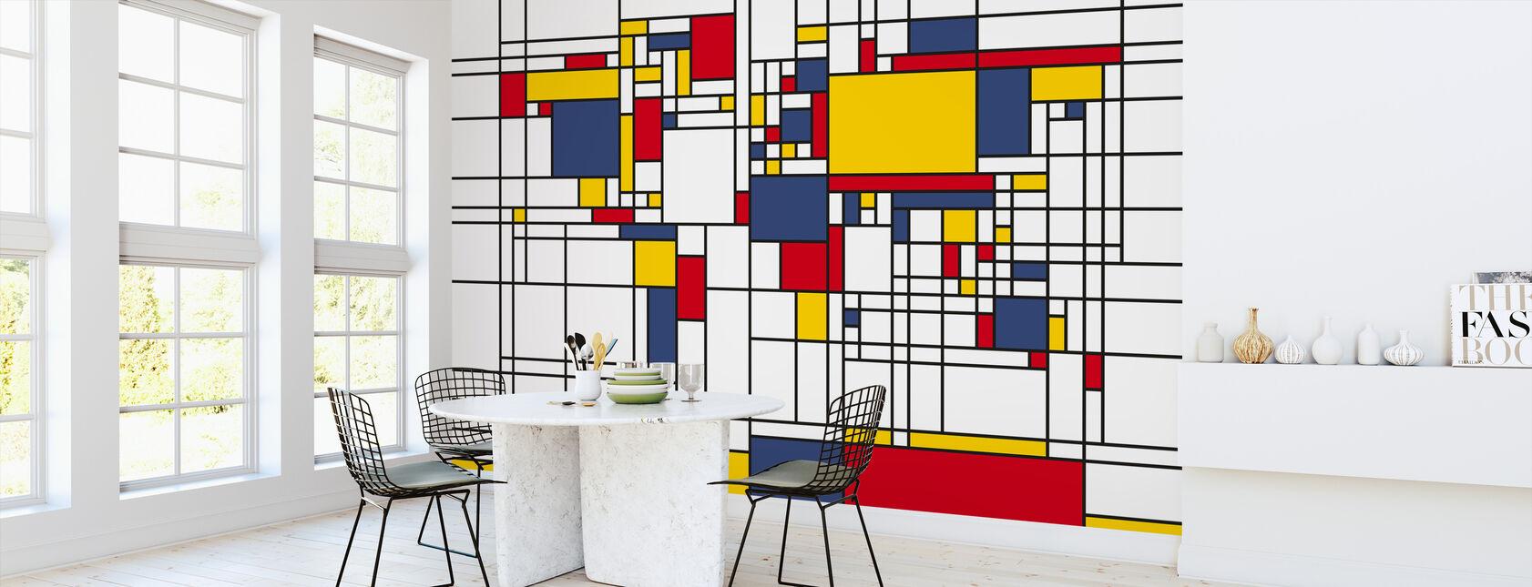 Piet Mondrian Style Carte du monde - Papier peint - Cuisine