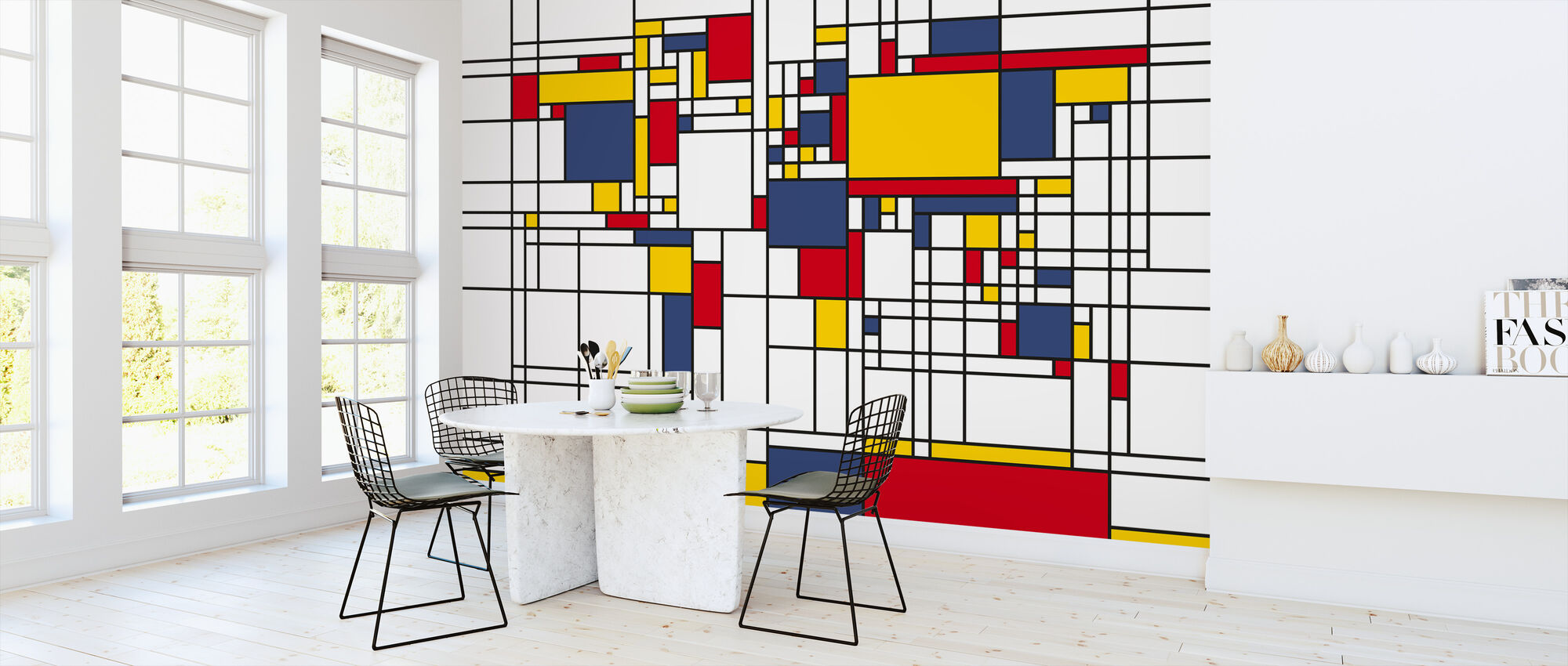 Piet Mondrian Style World Map - Wallpaper - Kitchen
