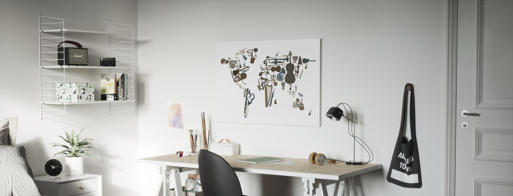 Music Instruments World Map - Canvas print - Kids Room