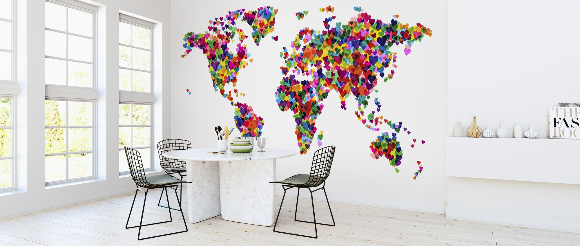 Hearts World Map - Wallpaper - Kitchen