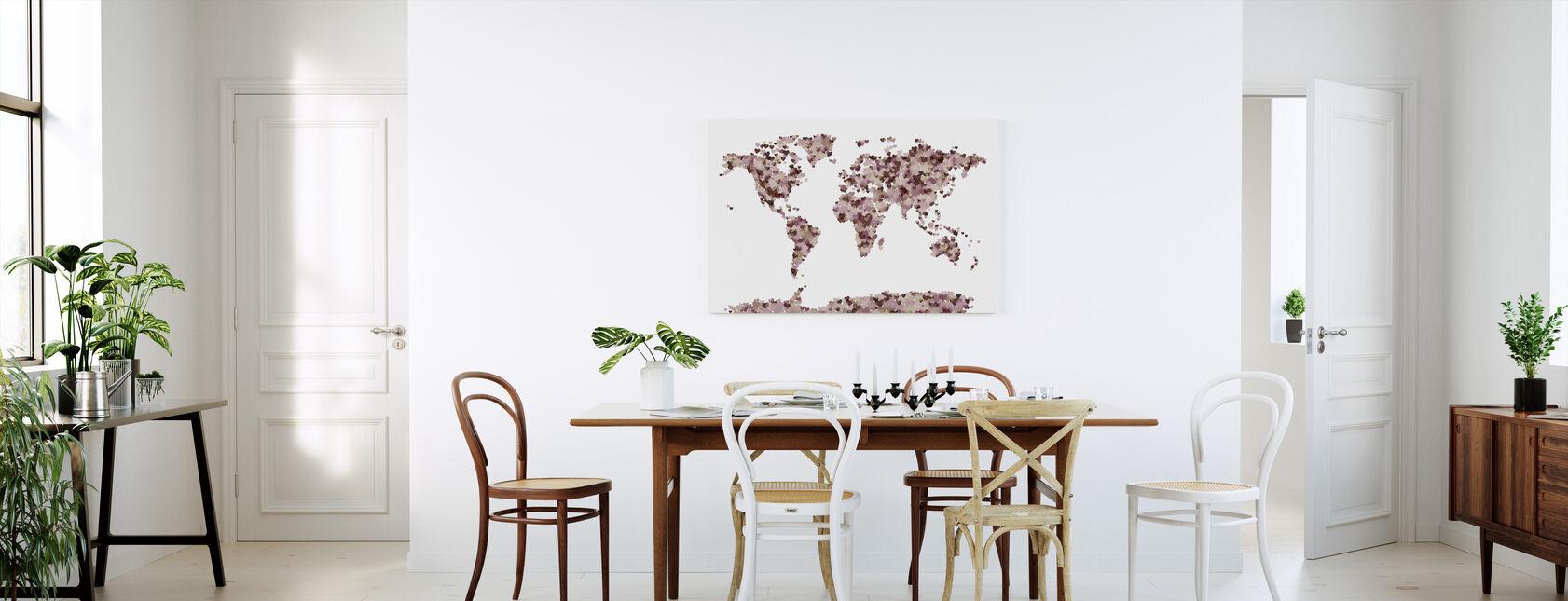 Carte du monde des coeurs Rose - Impression sur toile - Cuisine