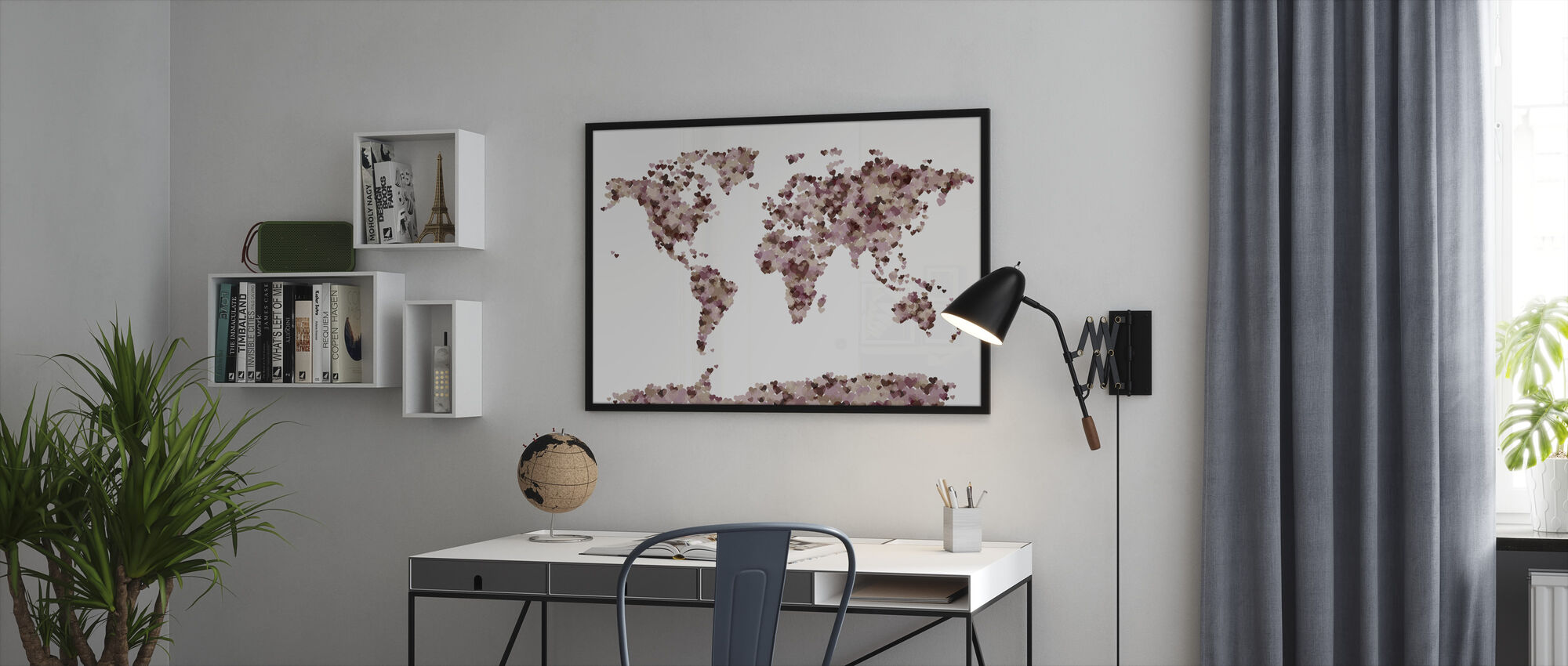 Hearts World Map Pink - Framed print - Office