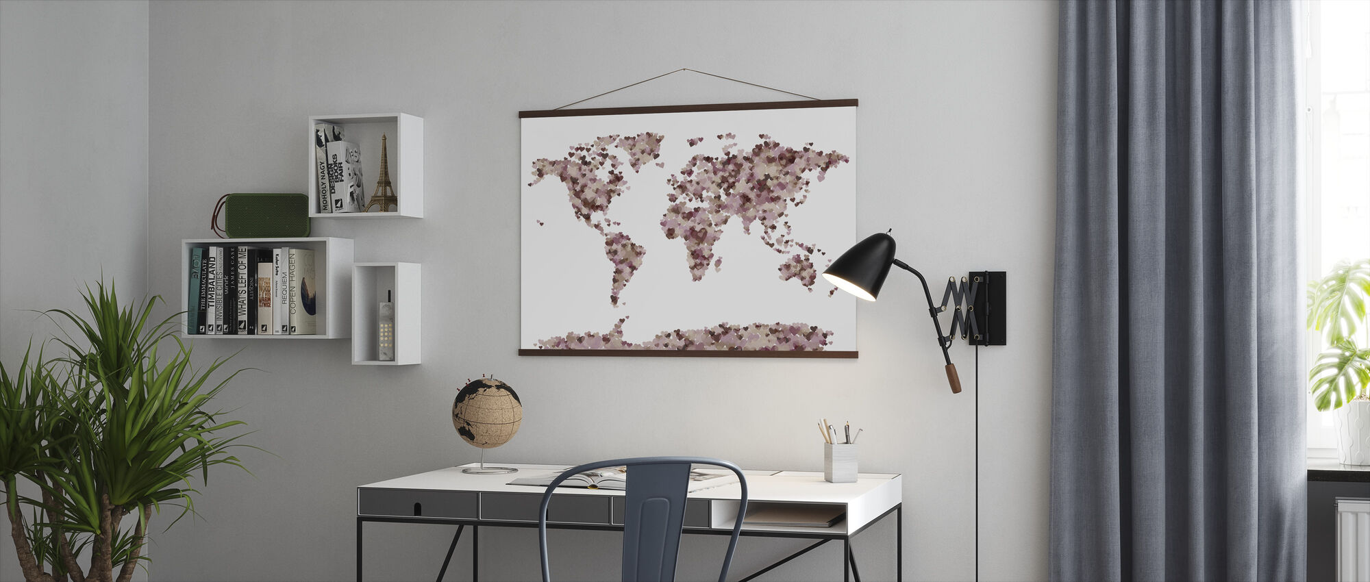 Hearts World Map Pink - Poster - Office