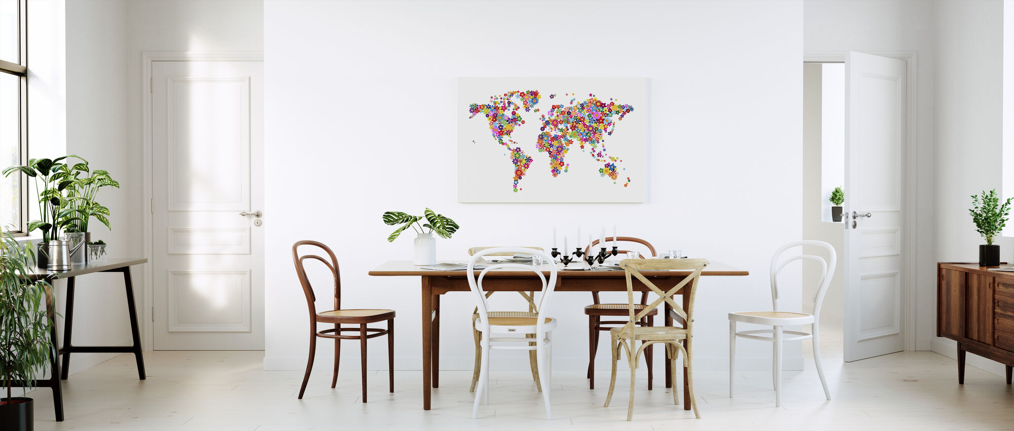 Blumen Weltkarte - Leinwandbild - Küchen