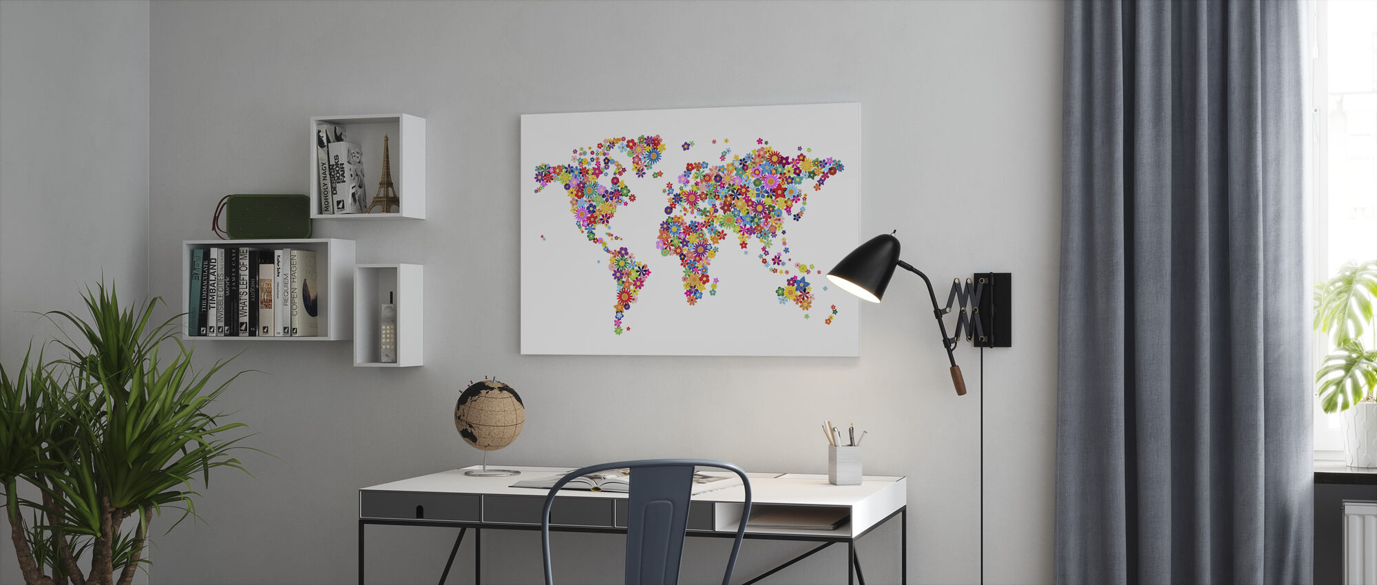 Flowers World Map - Canvas print - Office