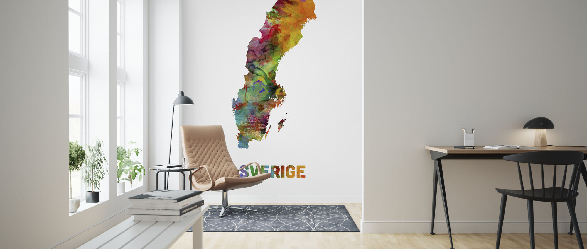 Sweden Watercolor Map - Wallpaper - Living Room