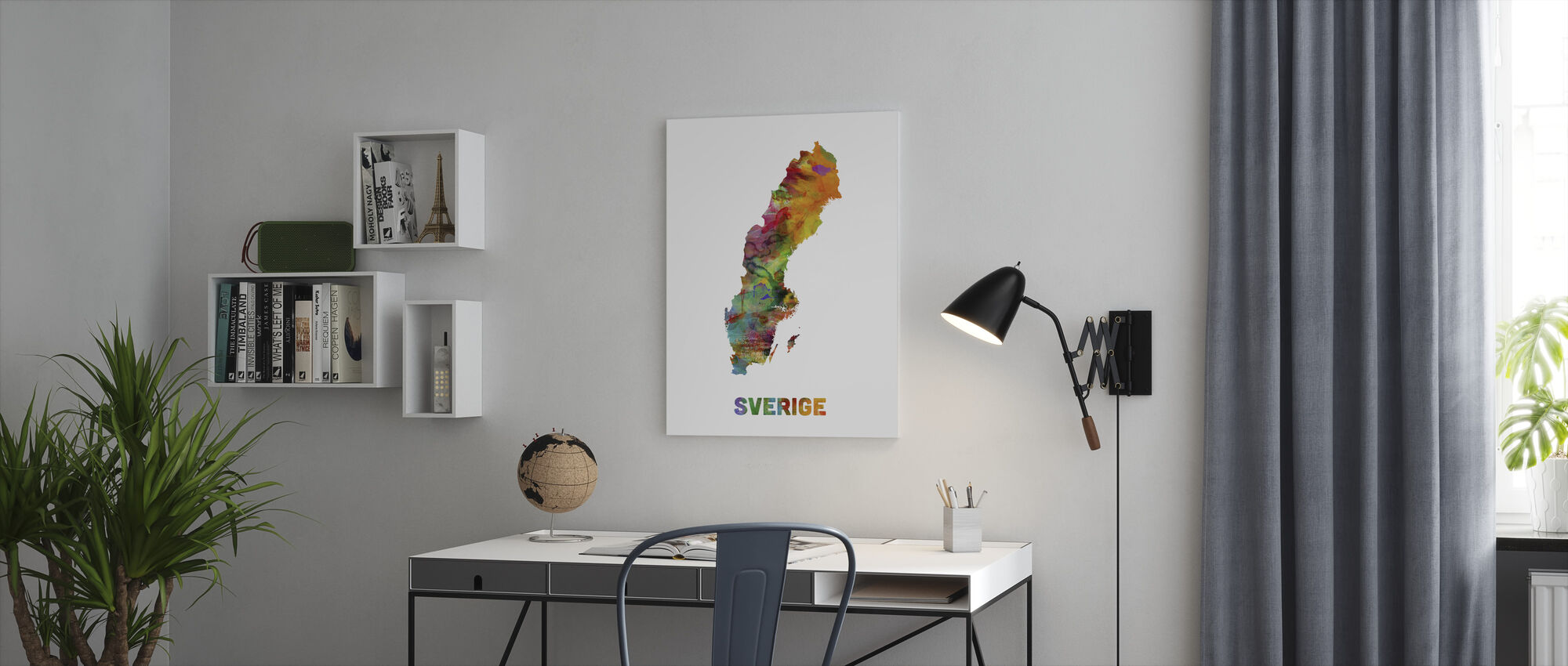 Sweden Watercolor Map - Canvas print - Office
