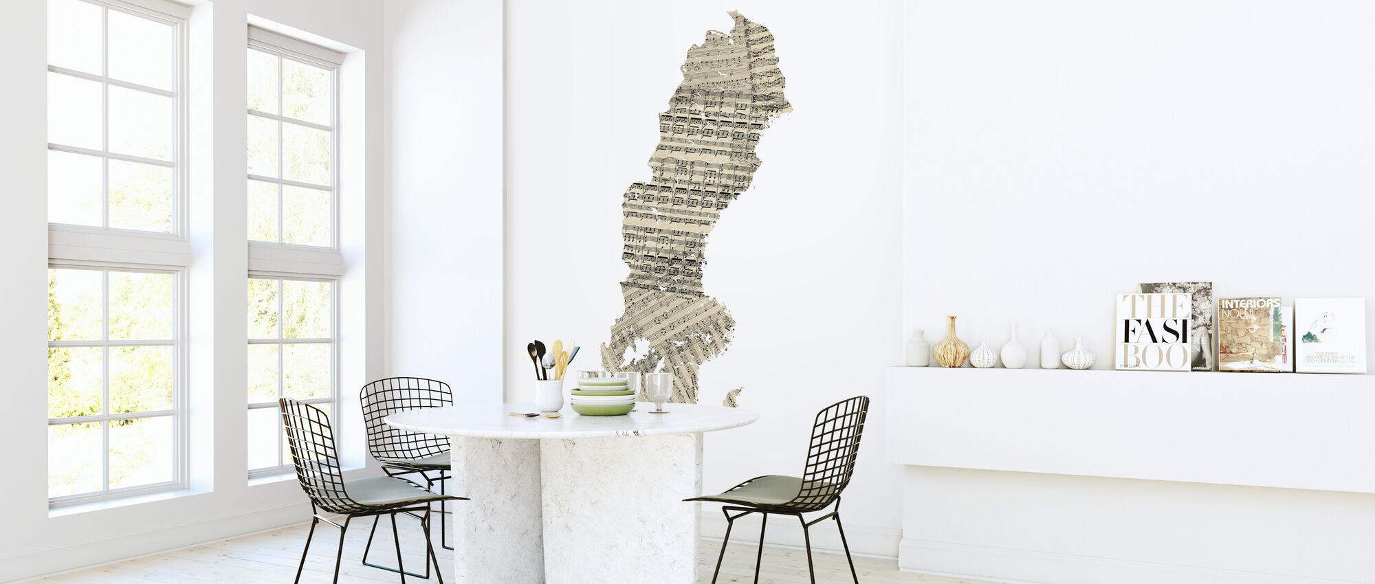Sweden Old Music Sheet Map - Wallpaper - Kitchen