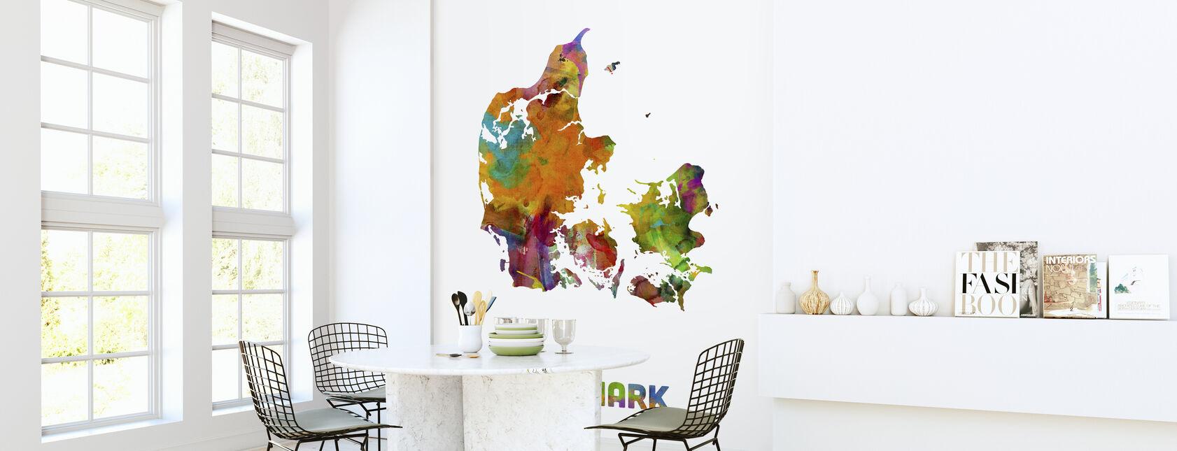 Denmark Watercolor Map - Wallpaper - Kitchen