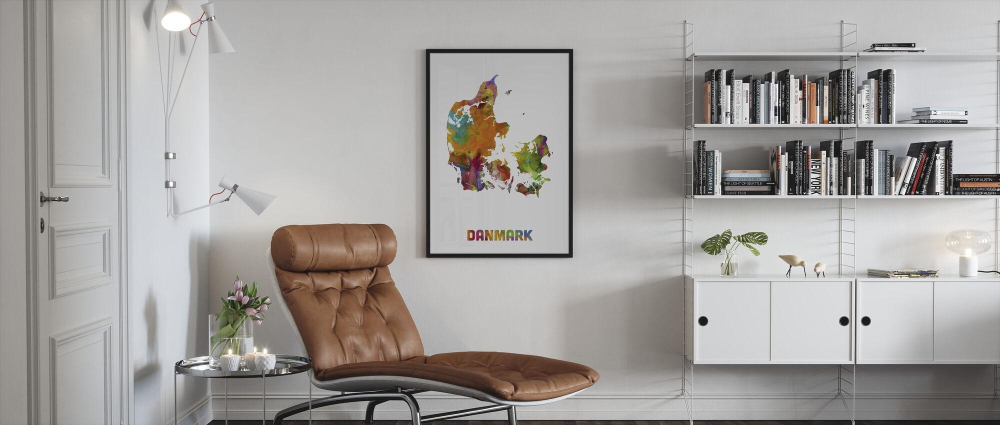 Tanska Watercolor Kartta - Kehystetty kuva - Olohuone