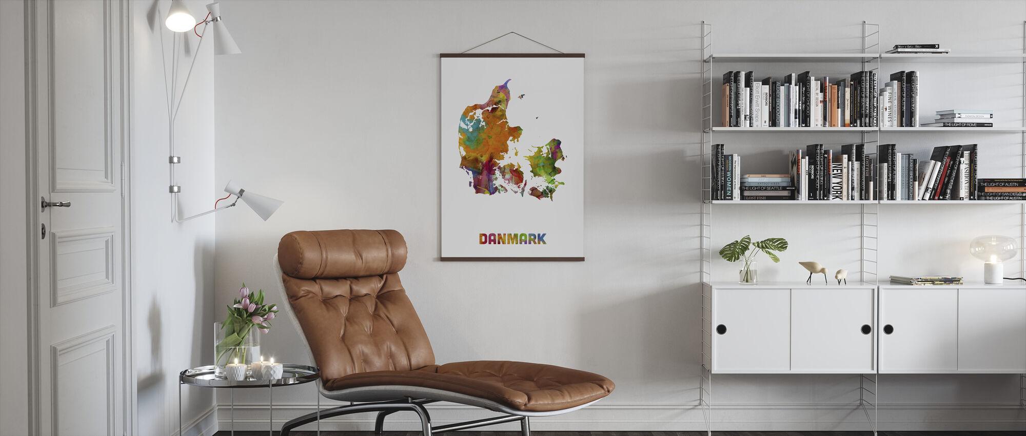 Denmark Watercolor Map - Poster - Living Room