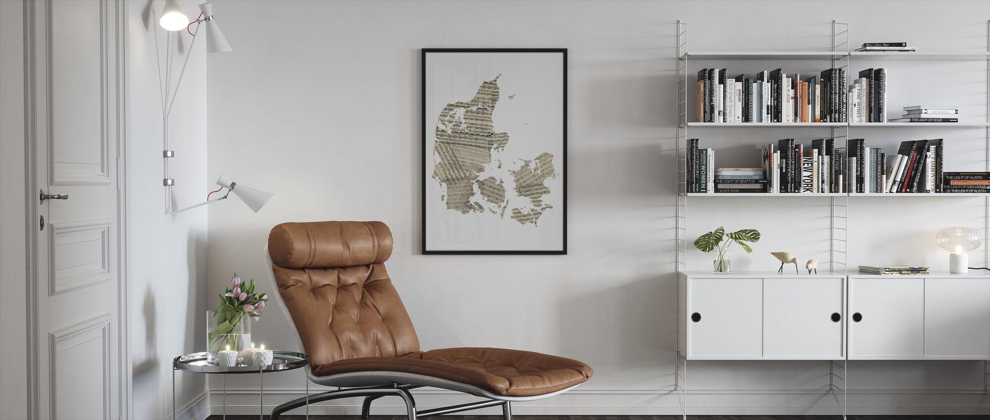Denmark Old Music Sheet Map - Framed print - Living Room