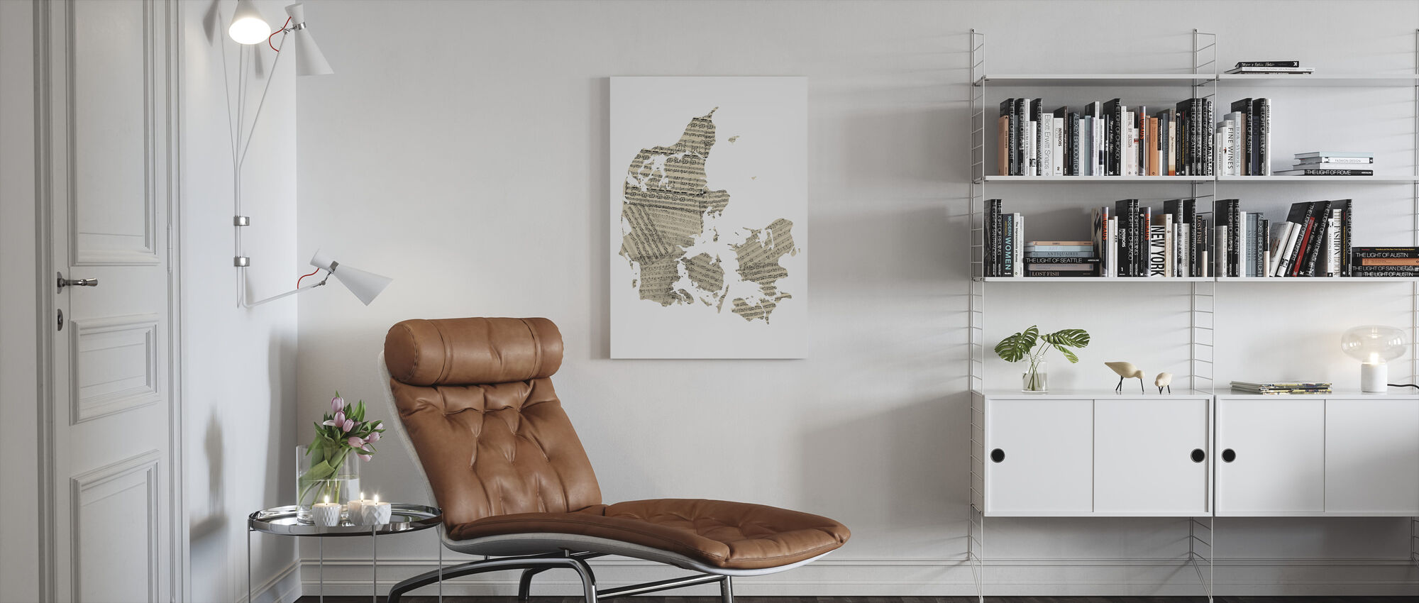 Denmark Old Music Sheet Map - Canvas print - Living Room