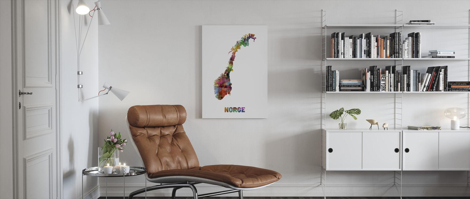 Norge Akvarell Kort - Lerretsbilde - Stue