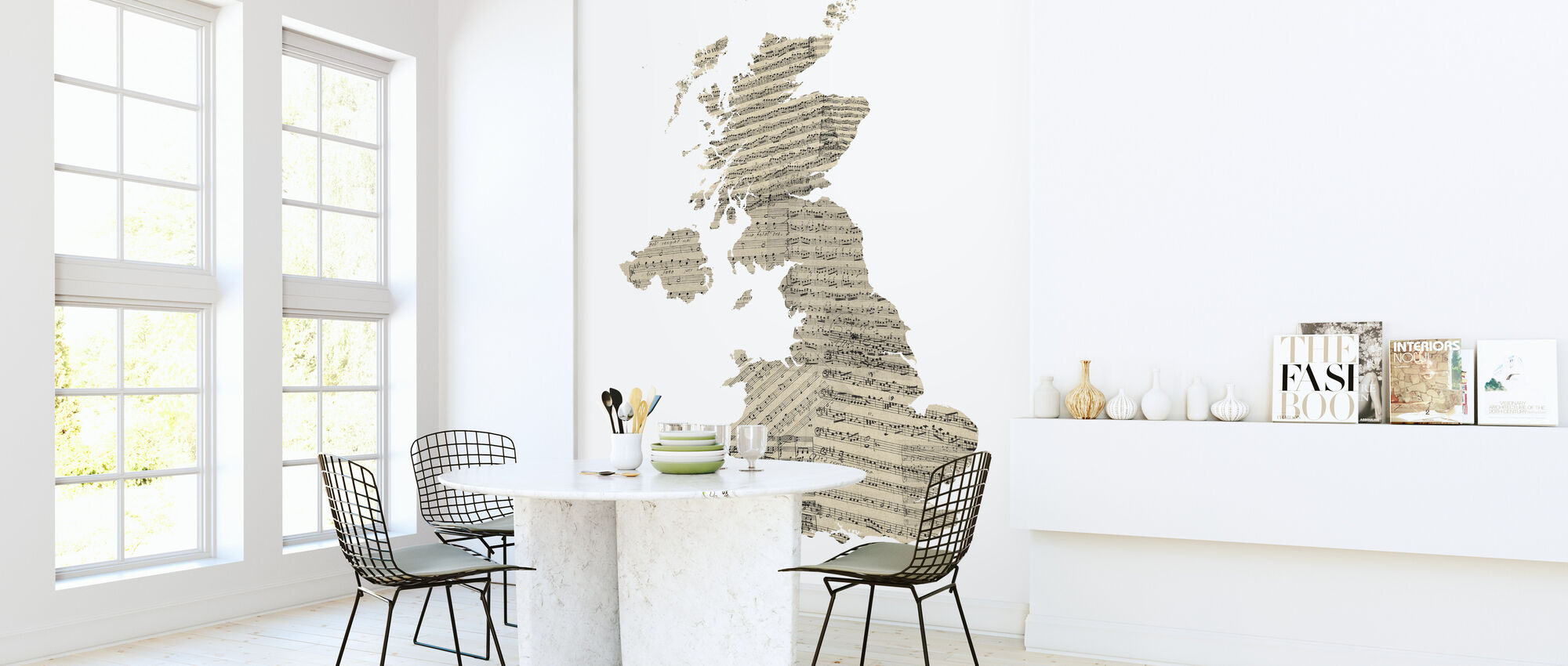 Great Britain Old Music Sheet Map - Wallpaper - Kitchen