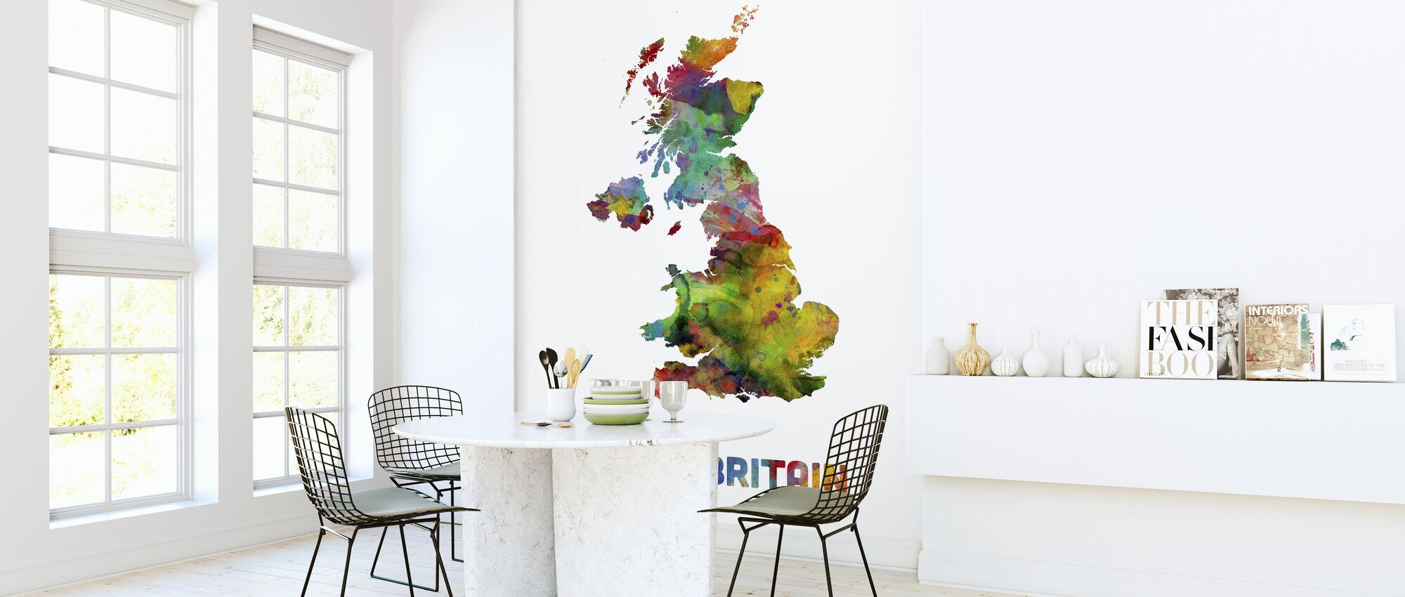 Great Britain Watercolor Map - Wallpaper - Kitchen