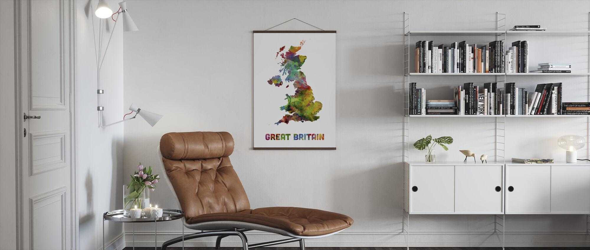 Great Britain Watercolor kaart - Poster - Woonkamer