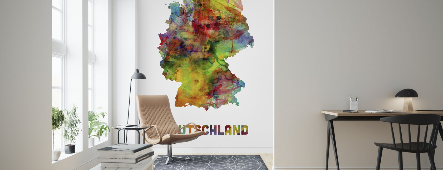 Germany Watercolor Map - Wallpaper - Living Room