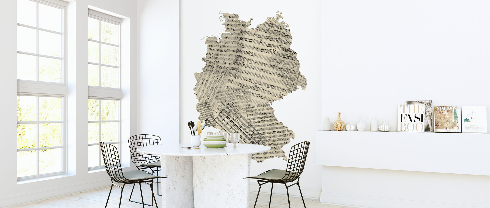 Germany Old Music Sheet Map - Wallpaper - Kitchen