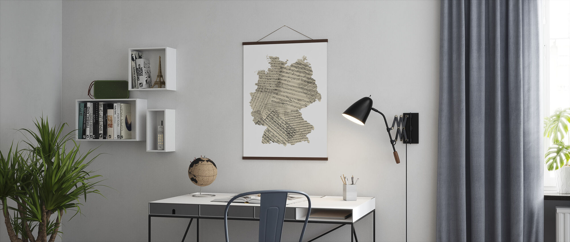 Germany Old Music Sheet Map - Poster - Office