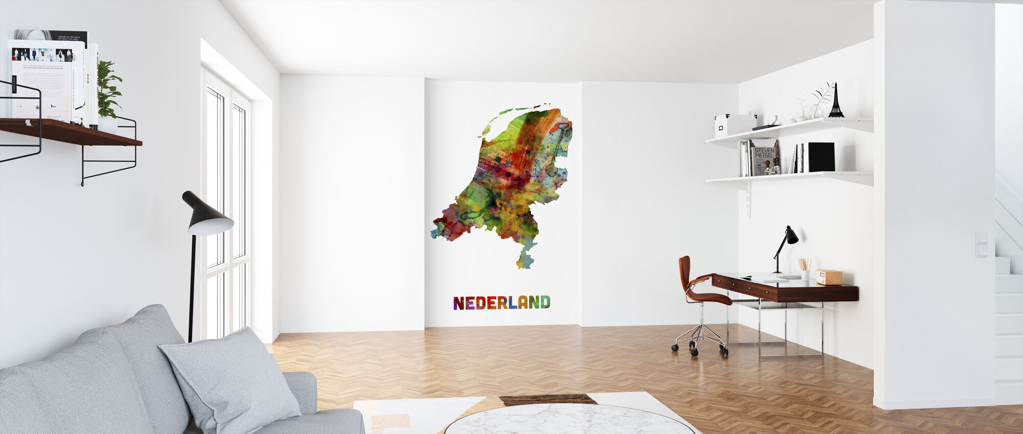Nederland Watercolor Kaart - Behang - Kantoor